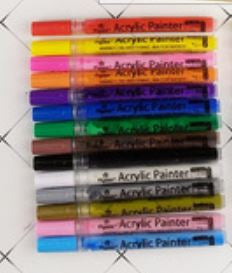 Acrylic Paint Thin Tip Individual Pens - use on rocks, paper, fabric, glass, ceramic, wood, metal..