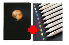 Load image into Gallery viewer, Night Black Blank Paper Planet Notebook & 10 Metallic Pens COMBO