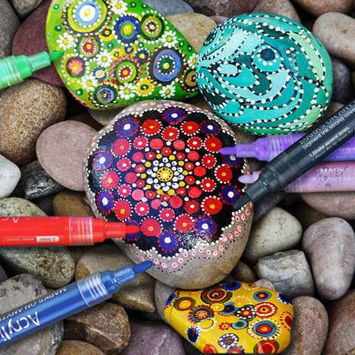 Art Rock Pen Paint Set - 12 colours acrylic pen sets, a detailing pen, and Tasman flat rocks.