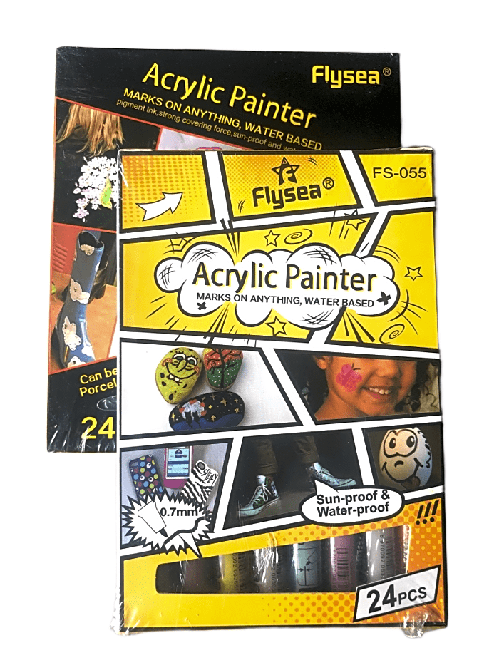 Acrylic Paint Pens Combo-  2 x Flysea 24 Sets- Rock Painting Pens, paper, fabric, mugs, etc....