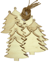 Load image into Gallery viewer, Craft-it.  10 Wooden Christmas Trees to Decorate - Kids Xmas Craft Project