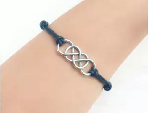 Double Infinity leather Bracelet (Silver Tone)