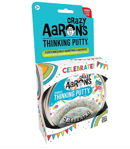CRAZY AARON'S PUTTY - Celebrate!, Rainbow Sparkle Confetti, 10cm, with a greeting card