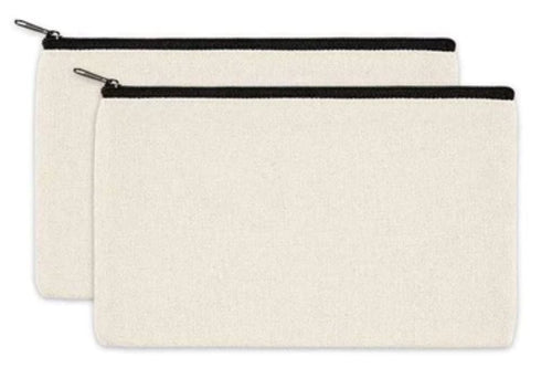 Canvas Pencil Case x 2 - Cotton Canvas Bag with Black Zipper
