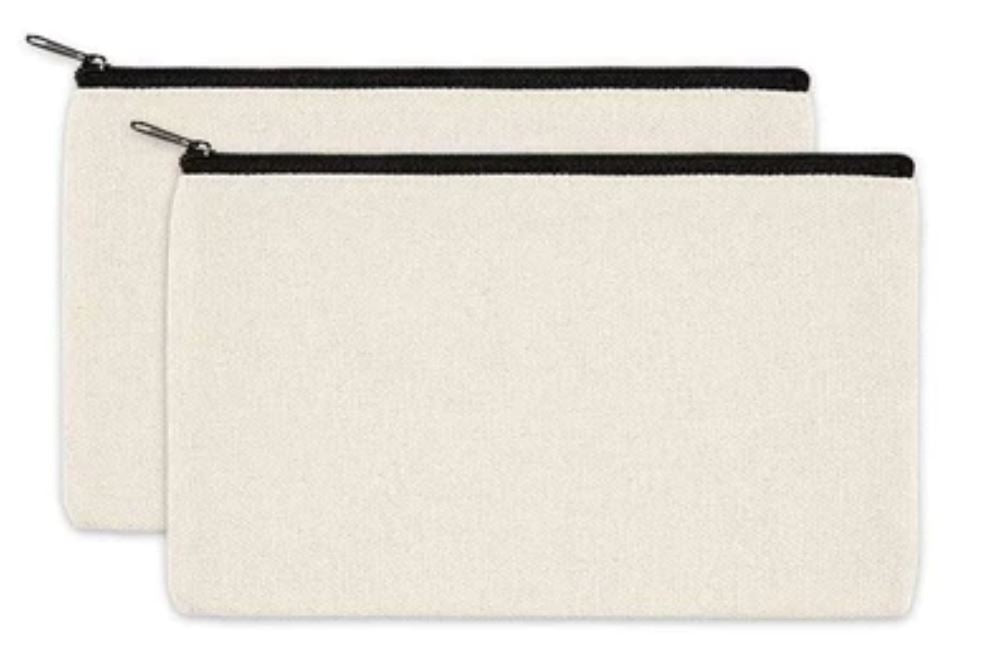 Canvas Pencil Case x 2 - Cotton Canvas, Cosmetic Bag, Multipurpose Travel Pouch with Black Zipper.