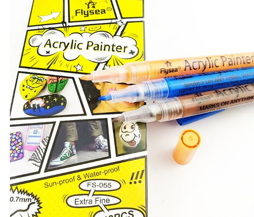 Acrylic Paint Flysea Thin Tip Pens (12) - use on rocks, paper, fabric, glass, ceramic, wood, metal..