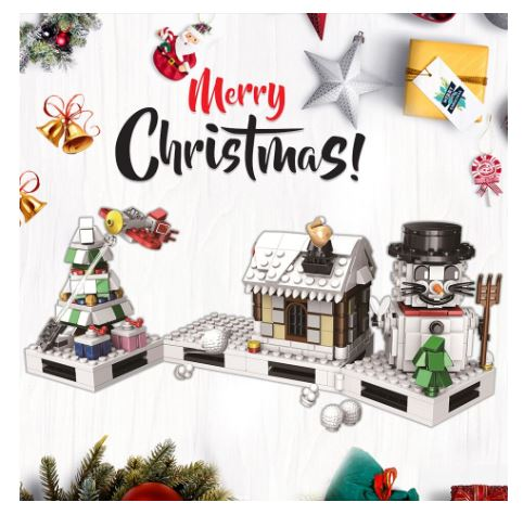 Christmas Snowman Bricks/Blocks Set 511pcs - Build Your Own Xmas