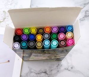 Acrylic Paint Flysea Pens -24 Colours use on rocks, paper, fabric, glass, ceramic, wood, metal etc..