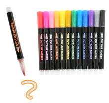 Load image into Gallery viewer, Double Outline Metallic Marker Pens - 12 Set.