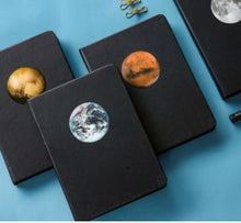 Load image into Gallery viewer, Night Black Blank Paper Planet Notebook, Planner, Sketchbook, Diary, or Journal