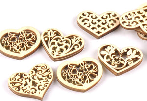 Craft-it. Wooden Creativity Hollow out Patterns Small Hearts (10pcs)