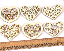 Load image into Gallery viewer, Craft-it. Wooden Creativity Hollow out Patterns Small Hearts (10pcs)