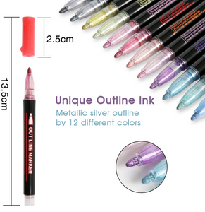 Double Outline Metallic Marker Pens - 12 Set.  Christmas cards, greetings etc...marks on anything!
