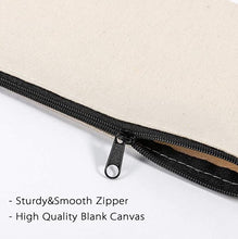 Load image into Gallery viewer, Canvas Pencil Case x 2 - Cotton Canvas, Cosmetic Bag, Multipurpose Travel Pouch with Black Zipper.