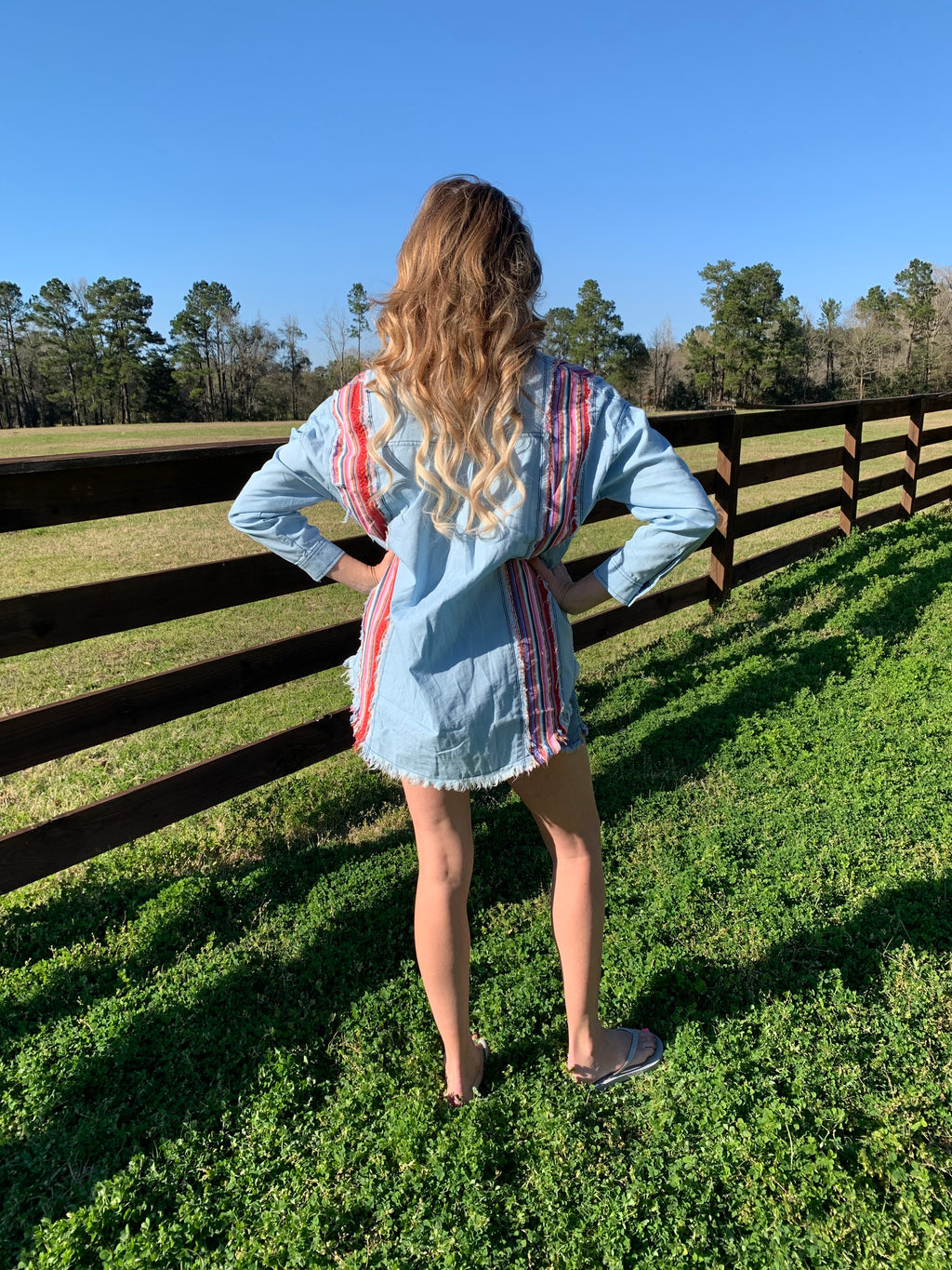 Denim Button Up Serape Top