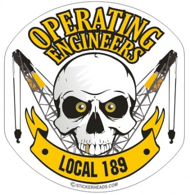 Operating Engineers Skull Lattice Banner - Skull - Heavy Equipment - Crane Operator Sticker