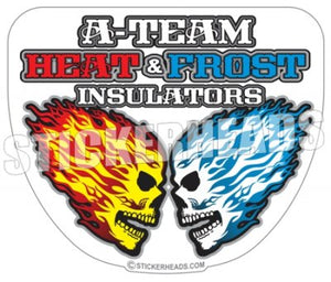 A Team Heat & Frost - Skulls - Custom Text - Insulators  Insulator Sticker