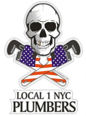 Skull with Crossed Pipe wrenches USA  - Pipefitters  Plumbers - Sticker