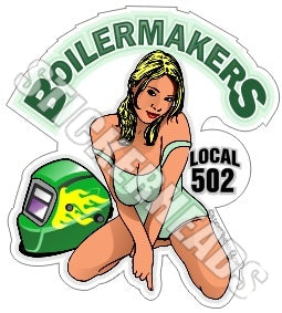 Girl In Green welder helmet ( Your Local )  - sexy - boilermakers  boilermaker  Sticker