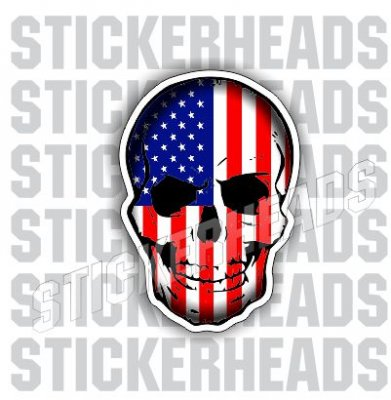 Skull with American Flag  - USA Flag Sticker