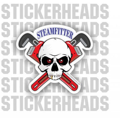 Skull With Crossed Pipe wrenches  - Steamfitter Steamfitters Sticker