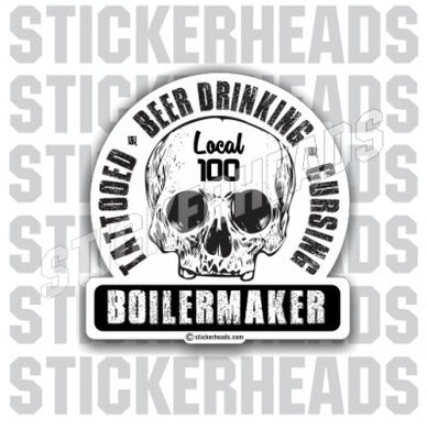 TATTOOED BEER DRINKING CURSING SKULL- boilermakers  boilermaker  Sticker