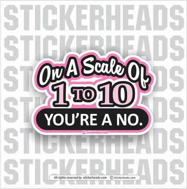 Scale of 1 to 10 you're a NO.  - Funny Sticker