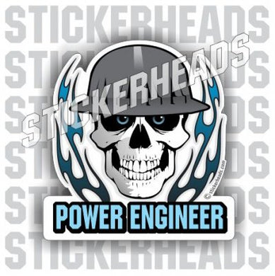 Skull With Flames - Civil Power Engineer Sticker