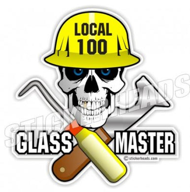 Glass Master - Skull - Custom Text - Glaziers Stickers