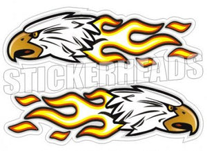 Eagle with Flame -  Badges, Stripes & More - 2 Stickers