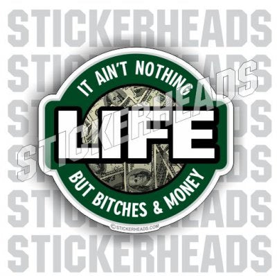 Life Nothing but Bitches and Money - Funny Sticker