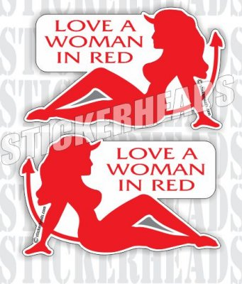 Love A Woman In RED - DEVIL GIRL   - Funny Sticker