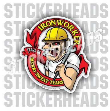 Blood Sweat & Tears - Skull Face Spud Wrench  - Ironworker Ironworkers Iron Worker Sticker
