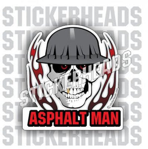 Asphalt Man -  Skull with Flames - Asphalt Pavement Road Construction  - Sticker