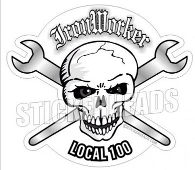 Ironwoker Crossed Spuds - Skull - Custom Text - Ironworker Ironworkers Iron Worker Sticker