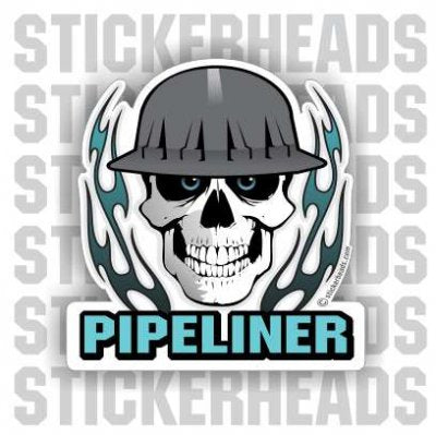 Skull With Flames  - Pipe Line Pipeliner  -  Sticker