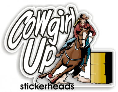 Cowgirl Up Barrel Riding  -  Cow Boy Girl Western Sticker