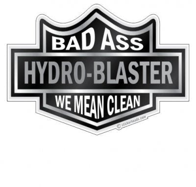 Black Biker Badge - Custom Text - Hydro Blaster Blasting Sticker