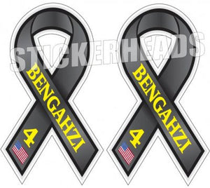 Never Forget The 4 Lives Lost at BENGAHZI - American Flag  ( 2 ribbon stickers ) - USA Flag Sticker