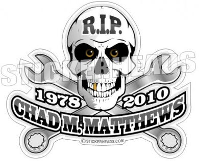 Skull & Wrenches RIP -  In Memory Of Sticker