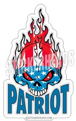 Patriot Skull Flag USA America - Pro Gun Sticker