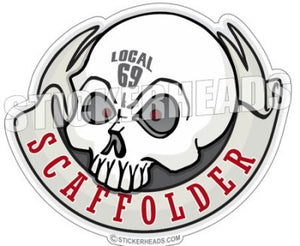 Skull with Banner (Your Local) - Sticker Scaffolder Scaffolding Scaffold