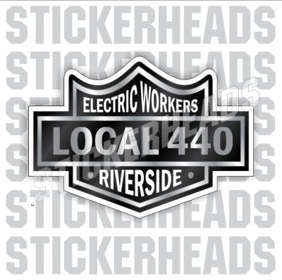 Black Biker Badge - Custom Text - IBEW  Electrical Electric Sticker