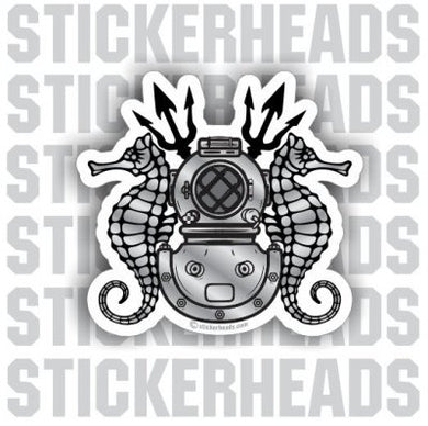 Diver Helmet with Sea horses & Tridents - Commercial Diver Sticker