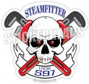 Skull with pipe wrenches and banner - custom text  - Steamfitter Steamfitters Sticker