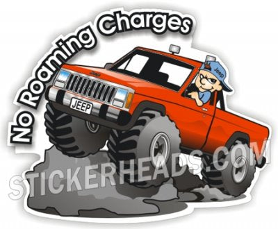 No Roaming Charges Truck - 4x4 Auto Truck Jeep Mud Sticker