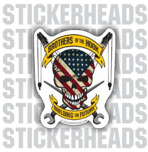 Bothers Of the Hook  USA - Skull & Banners - Ironworker Ironworkers Iron Worker Sticker