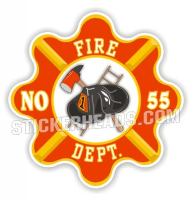 Fire Dept Vintage Retro Logo - Fire  Firefighter Sticker