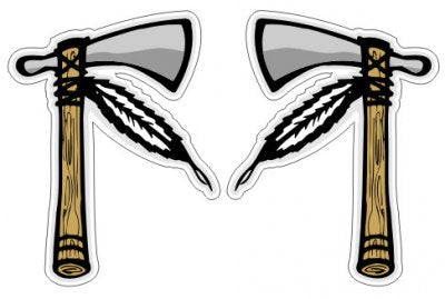 Tomahawks ( 2 Stickers Left and Right )    - Native Indian American Sticker