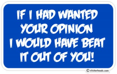 Beat your OPINION Out OF YOU  - Funny Sticker